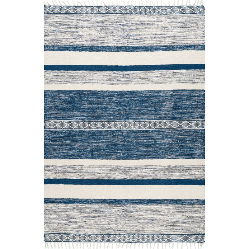 Bungalow Rose Lofland Striped Hand Knotted Blue Area Rug Reviews Wayfair