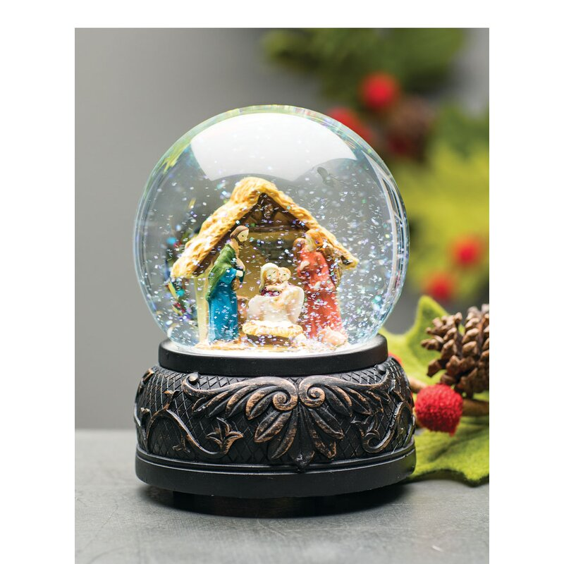 nativity scene musical snow globe