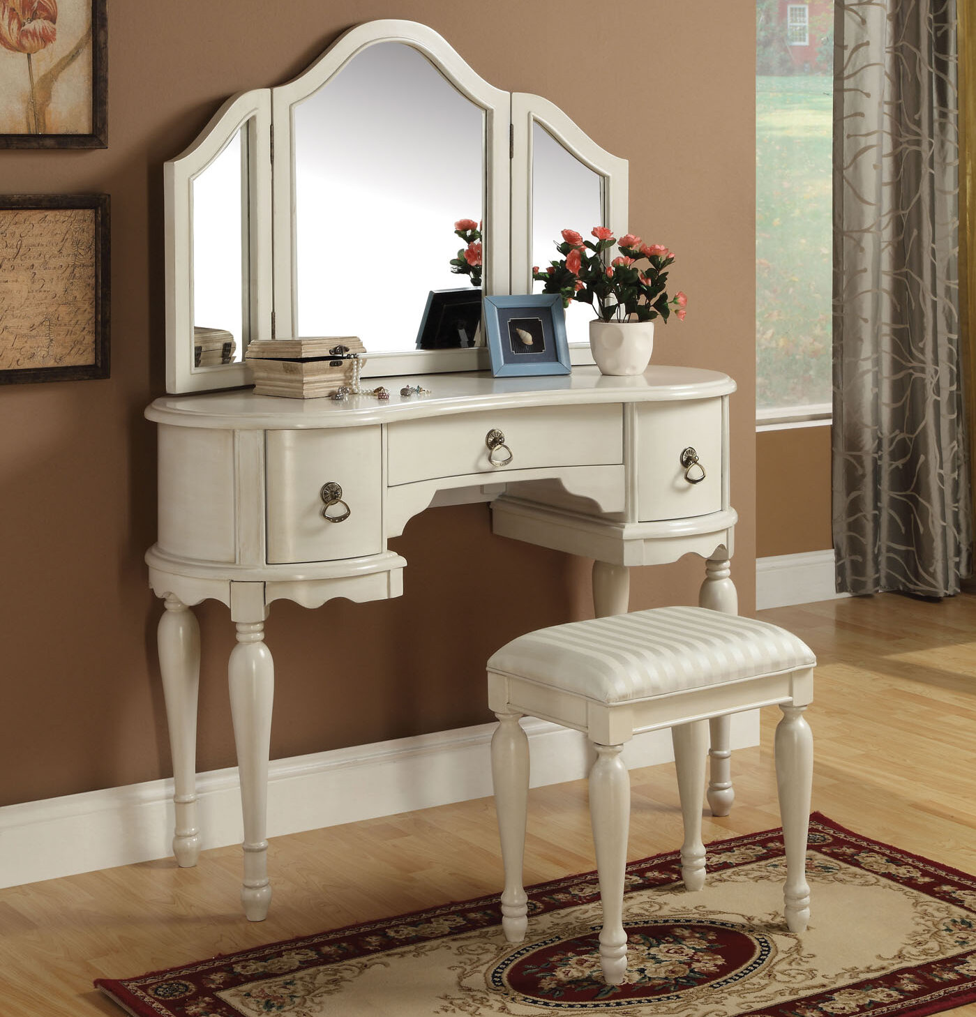 Merveilleux Infini Furnishings Makeup Vanity Set With Mirror U0026 Reviews | Wayfair