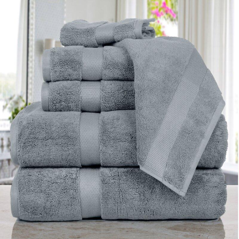 Affinity Linens Madhvi Premium Quality Luxury 6 Piece Cotton Towel Set  Color: Silver