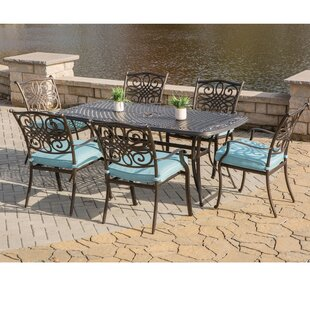 Fleur De Lis Living Carleton Outdoor 7 Piece Dining Set with Cushions