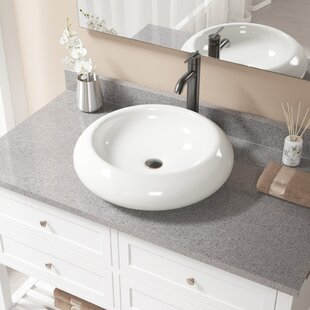 MR Direct Pillow Top Vitreous China Circular Vessel Bathroom Sink with Faucet