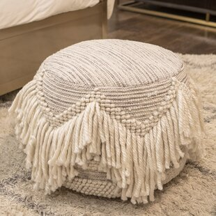Sabang Fringed Pouf by Bungalow Rose