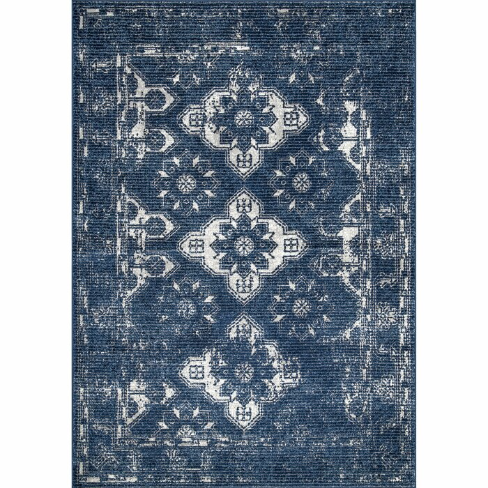 Seeger Blue White Area Rug