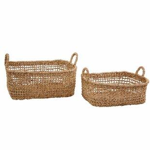 Wicker 2 Piece Basket Set By Bay Isle Home