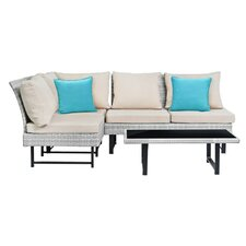 Chesterfield Outdoor 4 Piece Sectional Seating Group with Cushions