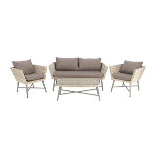Aluminum PE Wicker Loveseat with Cushions by Cole & Grey