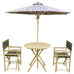 Keyes Bamboo 3 Piece Bistro Set with Umbrella