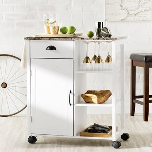 Tillie Kitchen Cart with Marble Top by Andover Mills Compare Price