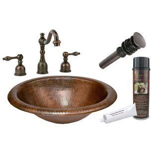 Premier Copper Products Wide Rim Metal Oval Drop-In Bathroom Sink with Fau..