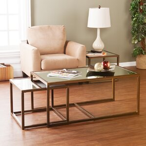 Alvis Coffee Table with Nested Stools by Willa Arlo Interiors
