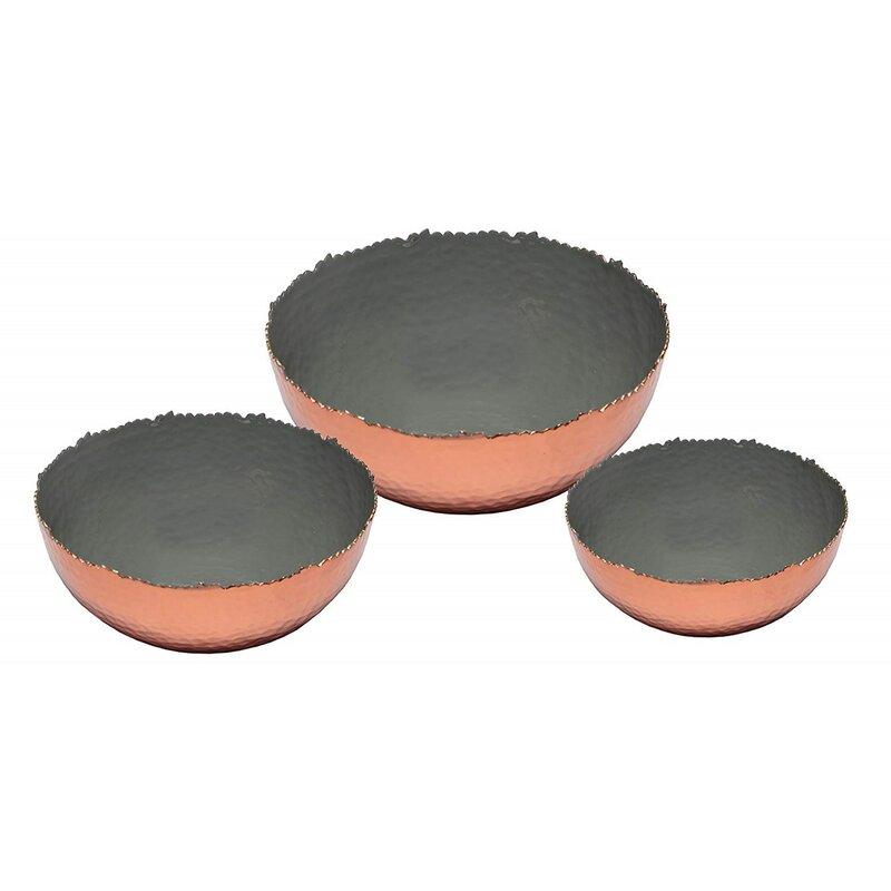 6 Color Set of 3 Bowls Black 9 and 12 Melange Home Decor Copper Collection