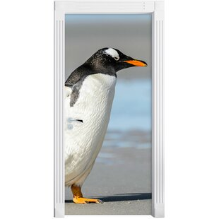 Penguin On The Beach Door Sticker By East Urban Home