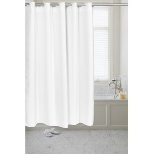 Pre Hooked™ Waffle Weave Single Shower Curtain