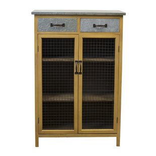 Farmhouse Wood and Galvanized Metal 2 Drawer Accent Cabinet by American Mercantile