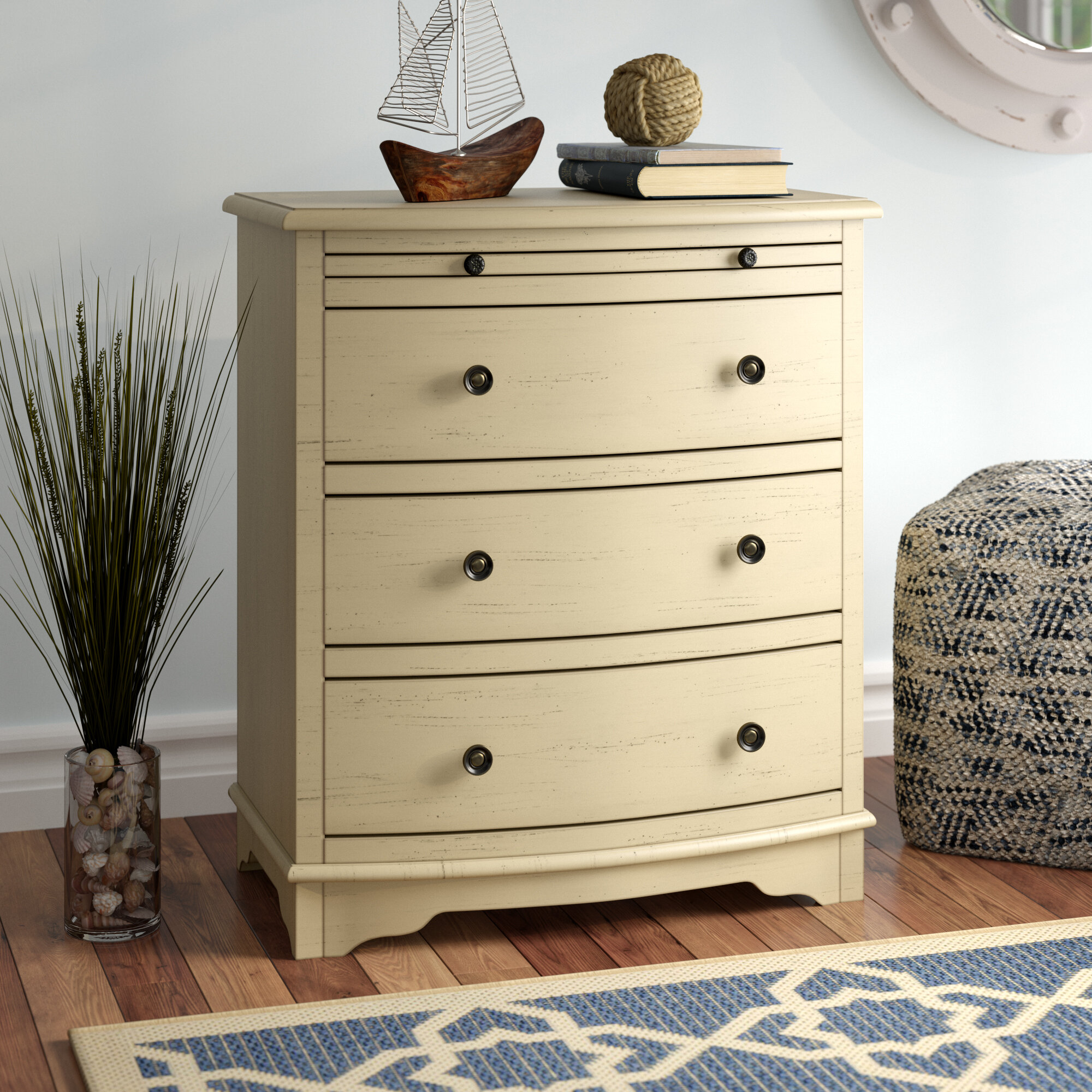 Beachcrest Home Dubreuil 4 Drawer Chairside Accent Chest In Ivory