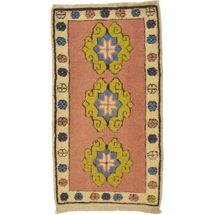 Top One-of-a-Kind Glenaire Hand-Knotted 1'9 x 3'3 Wool Pink/Beige Area Rug By Isabelline