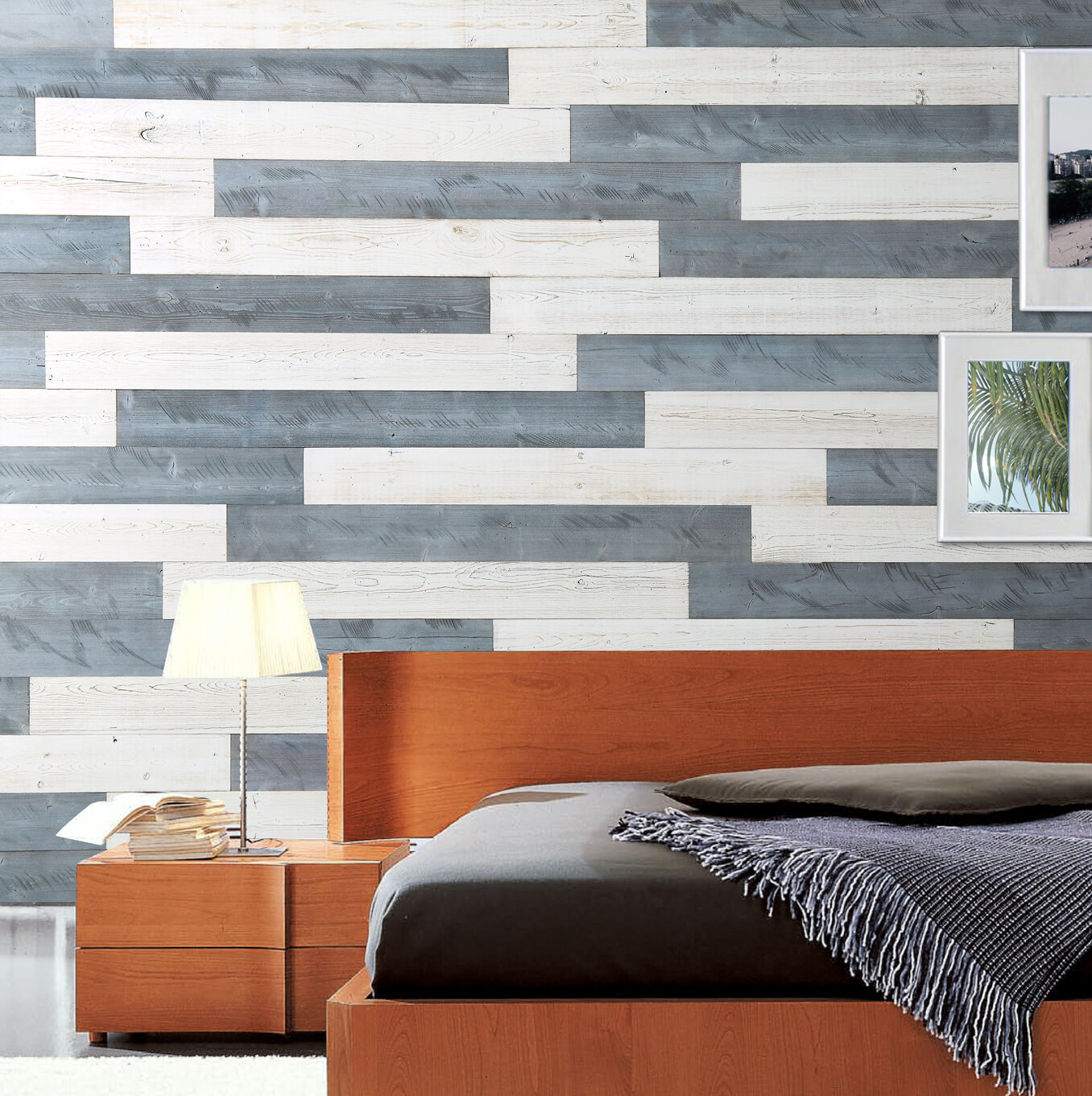Peel And Stick Wood Wall Panels Diy 19 5 Sq Ft Per Box Natural Grey White