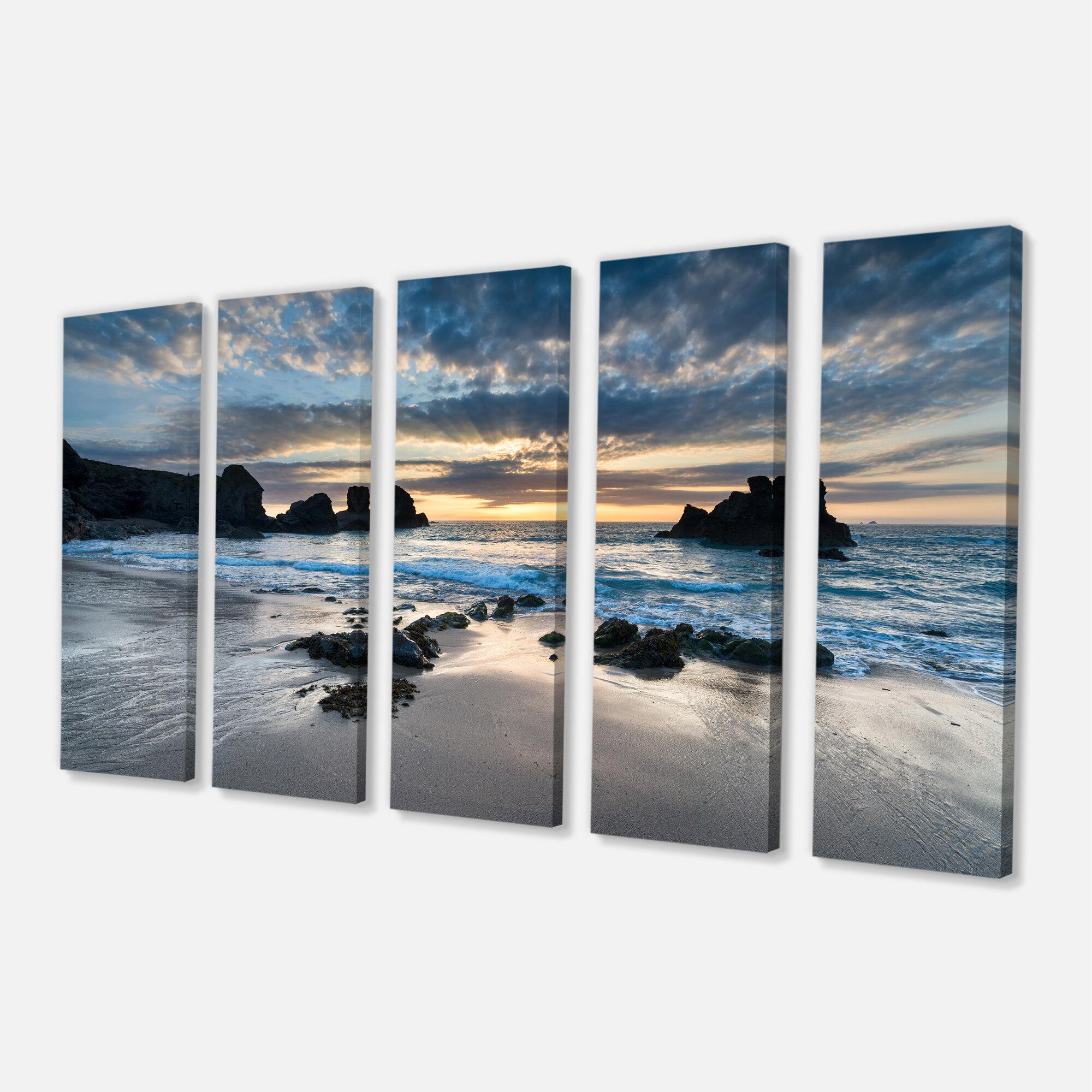 Designart Beautiful Porthcothan Bay 5 Piece Photographic Print On Wrapped Canvas Set Reviews Wayfair