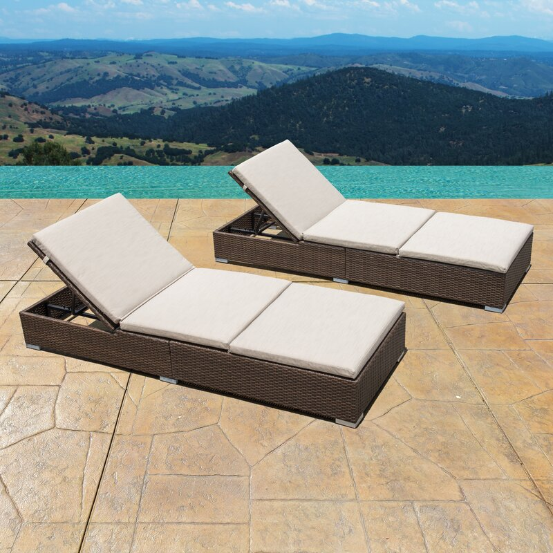 Trombley Outdoor Wicker Reclining Chaise Lounge With Cushion