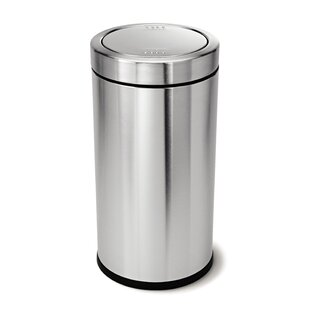 simplehuman 14.5 Gallon Swing Top Trash Can, Brushed Stainless Steel