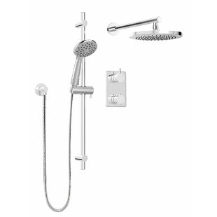 Keeney Manufacturing Company Modern Round Faucet Pressure Balanced Dual Function Dual Shower Head Complete Shower System