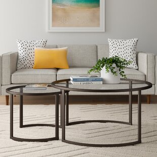 With Stacking Metal Frame Nesting Tea Table Coffee Tables Set Of 2 For Living Room And Office Round Black Mdf Top Nesting Tables Accent Furniture