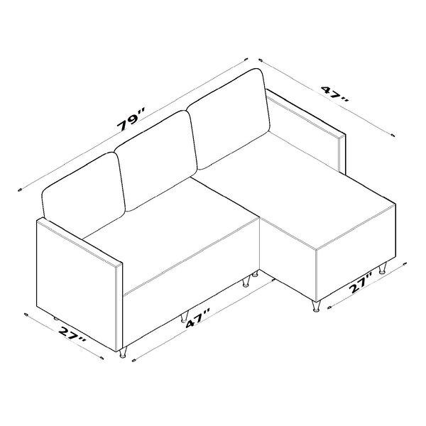 Ebern Designs Aggappe 79 Wide Microfiber Microsuede Reversible Sofa Chaise Wayfair
