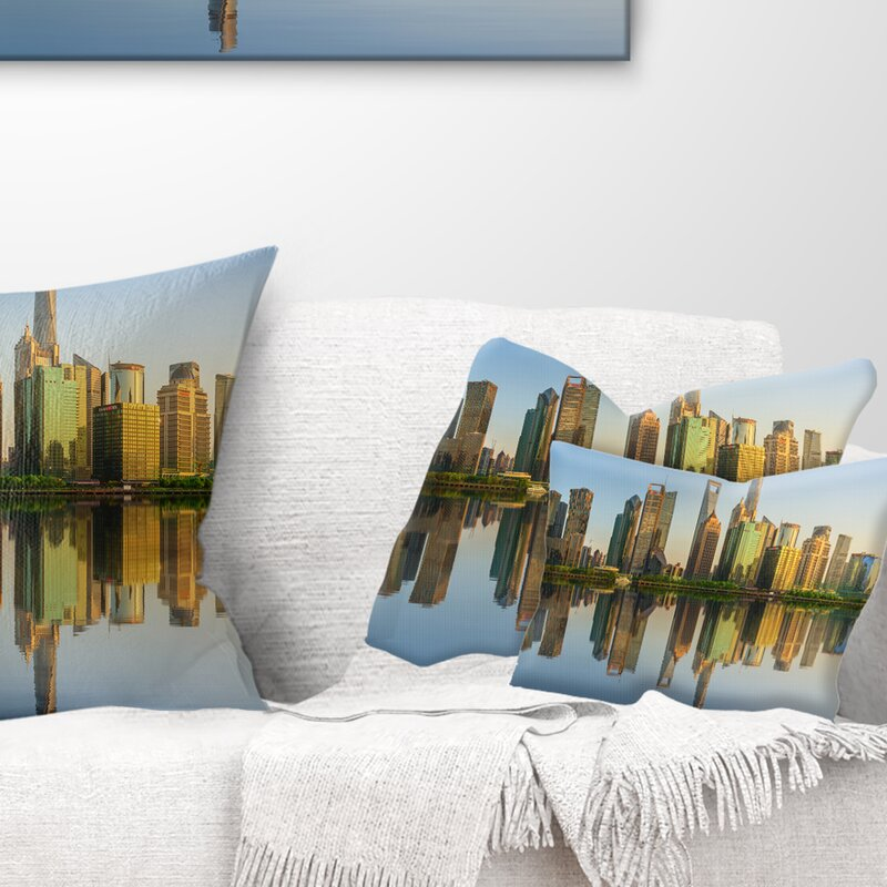 East Urban Home Cityscape Shanghai Huangpu River At Sunset Lumbar Pillow Wayfair