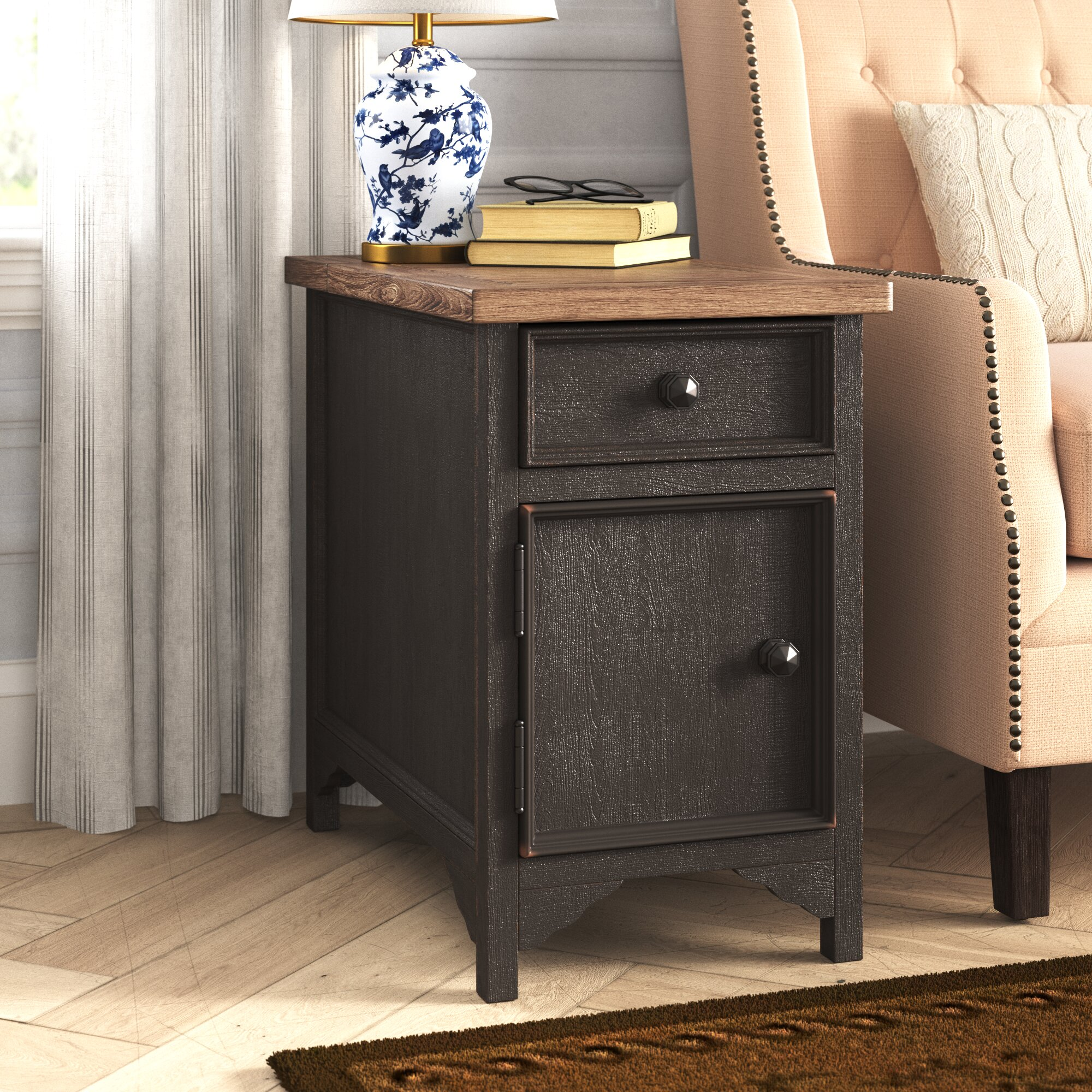 Canora Grey Salazar End Table With Storage And Built In Outlets Reviews Wayfair