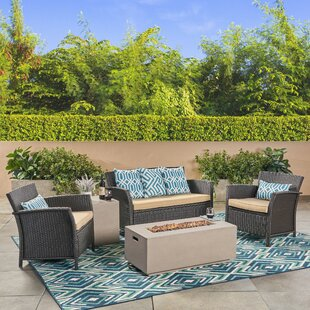 Ayala Outdoor 5 Piece Rattan Sofa Seating Group with Cushions by Alcott Hill