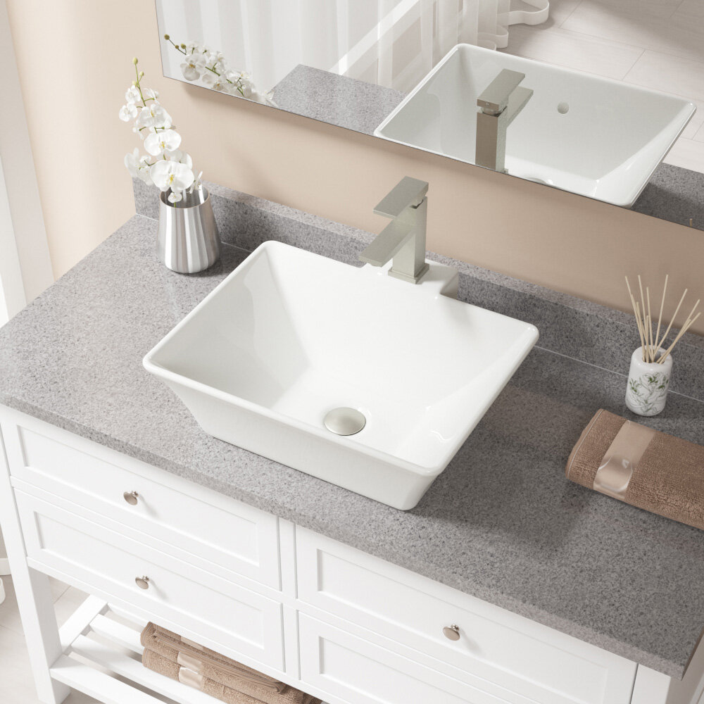 Mrdirect Vitreous China Rectangular Vessel Bathroom Sink With Faucet And Overflow Wayfair