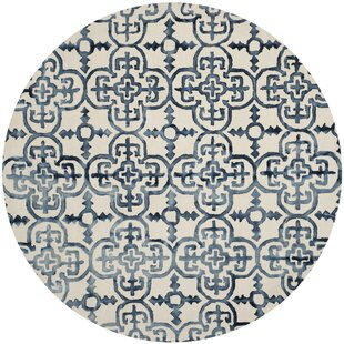 Naples Park Hand-Tufted Wool Ivory/Navy Area Rug by Bungalow Rose