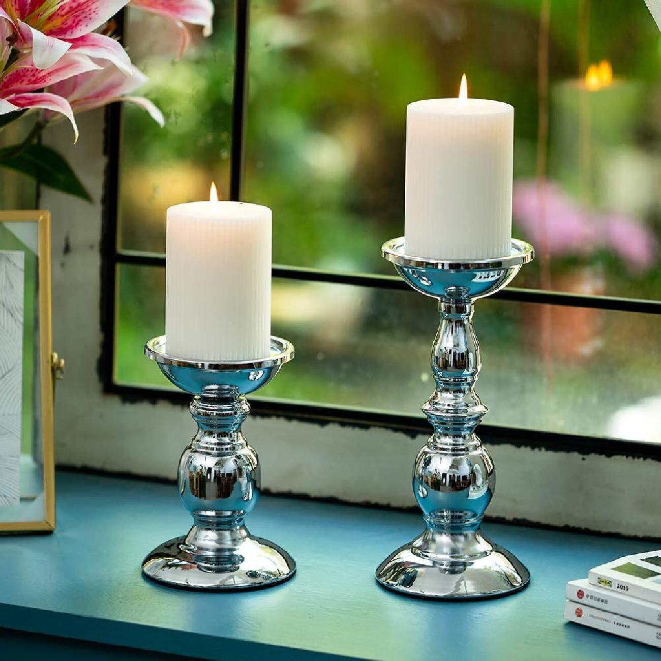 Pillar Candle Holders Metal Candle Holder Ideal For 20 Inches Candles,  Silver Candle Holder For Living Room, Gardens, Spa, Aromatherapy, Incense  Cones, ...