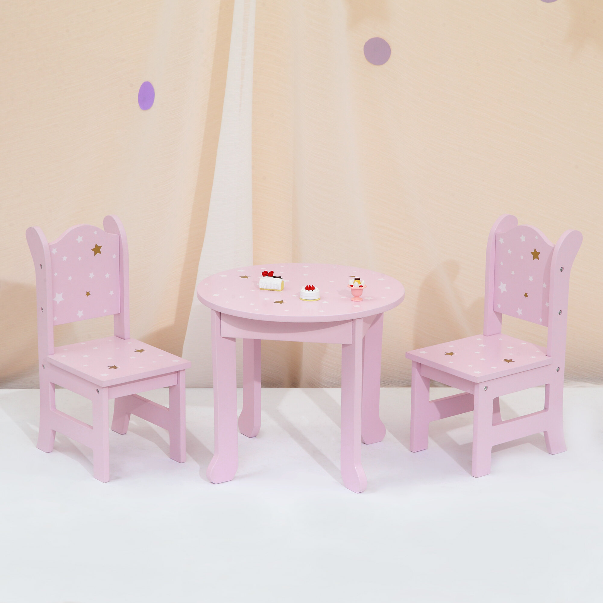 White Olivias Little World   Fits American Girl Princess 18 Doll Vanity Table and Chair Set with Rotatable Mirror Wooden 18 inch Doll Furniture