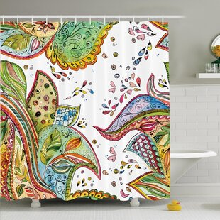 Paisley Leaves Flowers Hearts Shower Curtain Set by Ambesonne