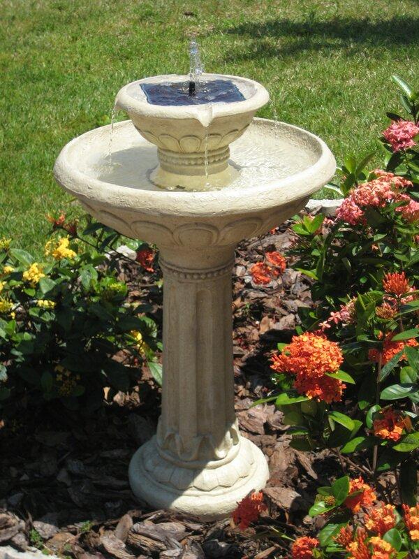 Resin Solar Kensington Gardens 2 Tier On Demand Fountain With LED Light