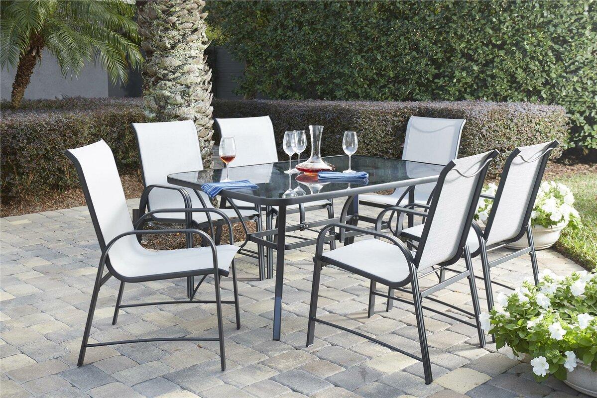 7 piece patio dining set glass top table 6 chairs deluxe outdoor rh ebay com deluxe garden furniture deluxe outdoor furniture covers
