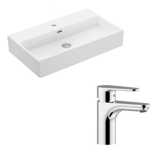Affordable Quattro Ceramic 28 Wall Mount Bathroom Sink with Faucet and Overflow ByWS Bath Collections