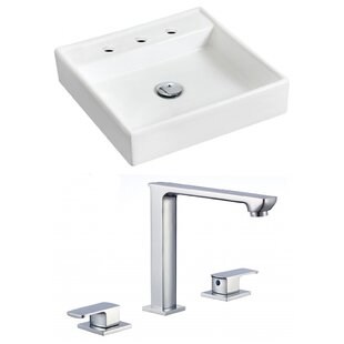 Compare prices Ceramic 18 Wall Mount Bathroom Sink with Faucet ByRoyal Purple Bath Kitchen