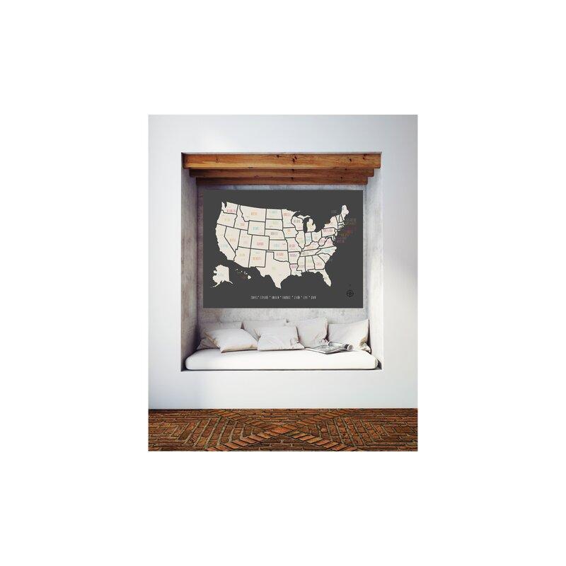 GlobalArtisanCollective Pushpin USA Travel Map Graphic Art Print on ...