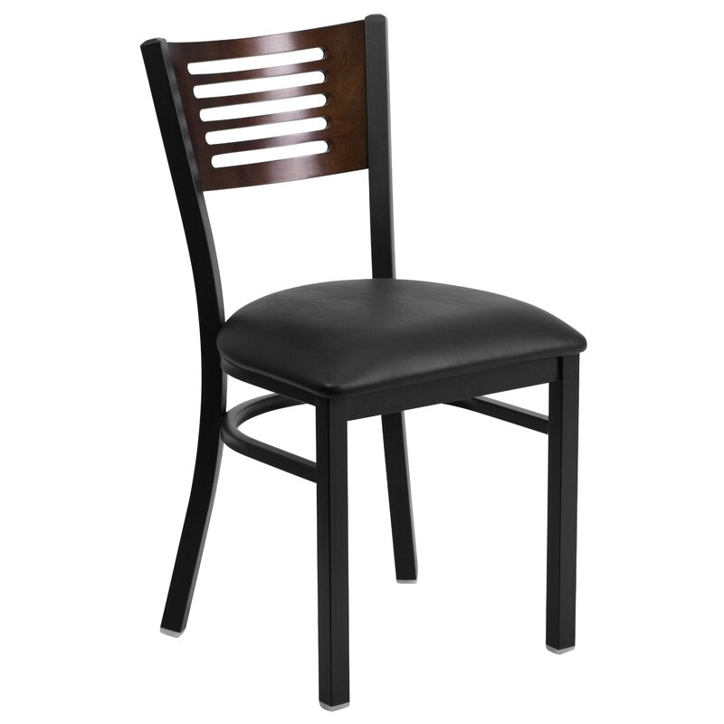 Winston Porter Generation Upholstered Ladder Back Side Chair in Black