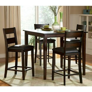 Biggs 5 Piece Counter Height Solid Wood Dining Set (Set Of 5) by Alcott Hill New Design