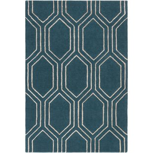 Affordable Price Flake Hand-Tufted Teal/Camel Area Rug By George Oliver