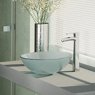 Best Glass Circular Vessel Bathroom Sink with Faucet By René By Elkay