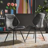 Byerly Velvet Upholstered Side Chair in Gray (Set of 2) by Mercer41
