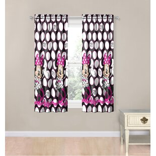 Disney Minnie Mouse Dots Are New Black Polyester 4 Piece Curtain Panel Set