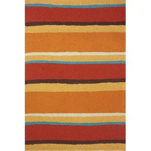 Caressa Sunset Stripe Hand-Hooked Rust Indoor/Outdoor Area Rug ByHighland Dunes
