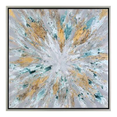 Exploding Star Modern Abstract Framed Oil Painting Print On Canvas
