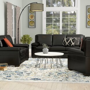 World Menagerie Devry 3 Piece Grey Leather Living Room Set